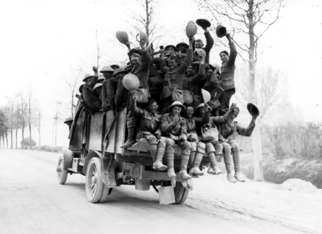 """""""Byng Boys"""" returning from action after defeating the Bavarians at Vimy Ridge. May 1917. (National Archives of Canada PA1270)."""