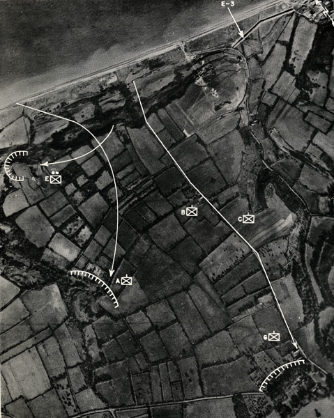 """Aerial view showing movement of Spalding's platoon (labeled E with two dots above an """"x"""" in a box) and elements of other companies."""