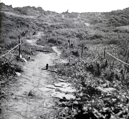 The path up from Easy Red taken by Spalding's men.
