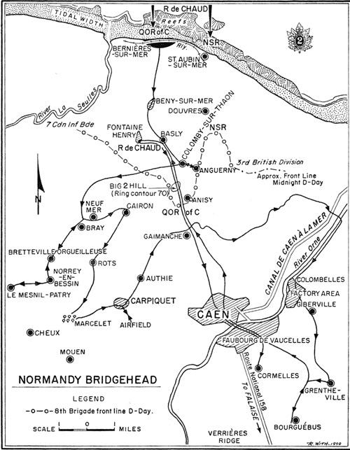 Normandy beachhead map from Barnard's regimental history.