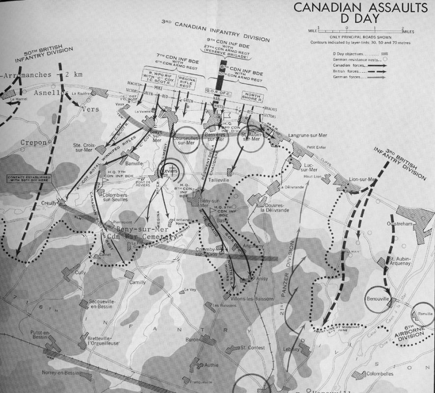 Overall invasion map with details regarding Juno. Gold beach is at left, Sword is on the right, and Juno is in the center. (Directorate of History, Canadian Forces Headquarters).