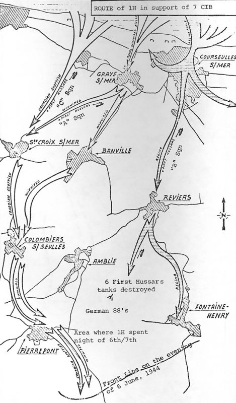 Map of the First Hussar's advance on D-Day in support of the 7th Brigade, Canadian 3rd Division.