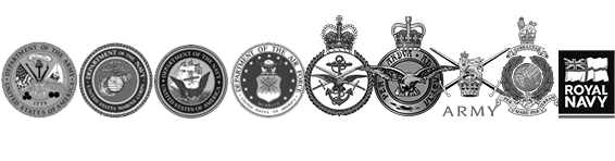 USA and UK military badges